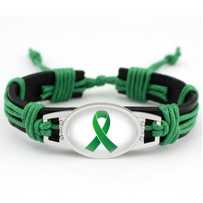 Lymphoma Cancer Awareness Leather Bracelet Green Ribbon Genuine Leather Bracelets & Bangles For Men And Women Bracelet Jewelry