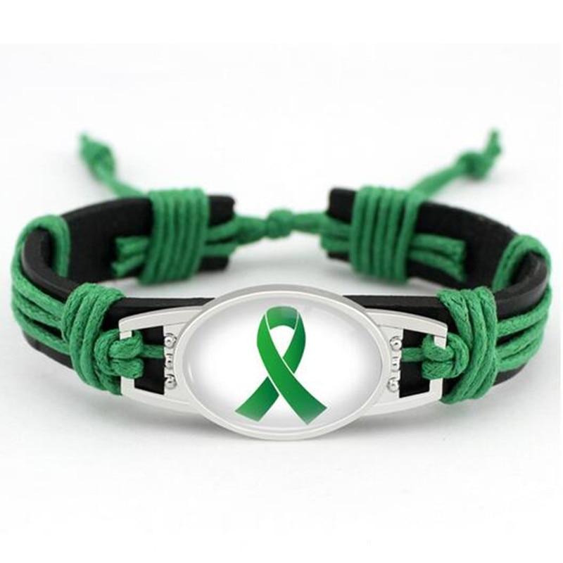 Lymphoma Cancer Awareness Leather Bracelet Green Ribbon Genuine Leather Bracelets & Bangles For Men And Women Bracelet Jewelry