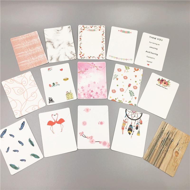 24Pcs 7x5cm Multi Color And Various Pattern Printing For Necklace Fashion Jewelry Displays Packaging Paper Card Accept Customize