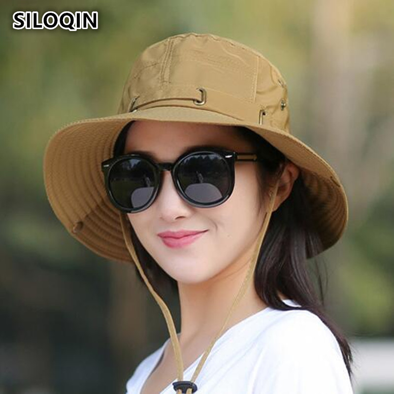 SILOQIN Summer Korean Version Trend Women's Cotton Sun Hats Anti-UV Wind Rope Fixed Outdoor Riding Visor Hat Female Beach Hat