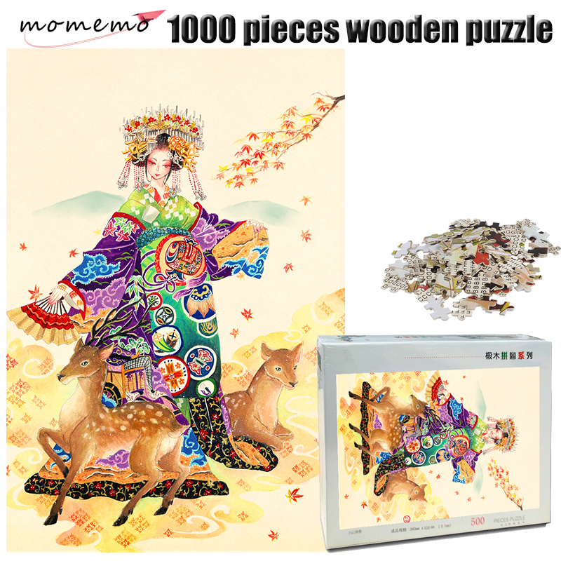MOMEMO Deer and Girl 1000 Pieces Adult Wooden Puzzle Exquisite Pattern Jigsaw Puzzle Hand Painted Color Puzzle Children Toy Gift