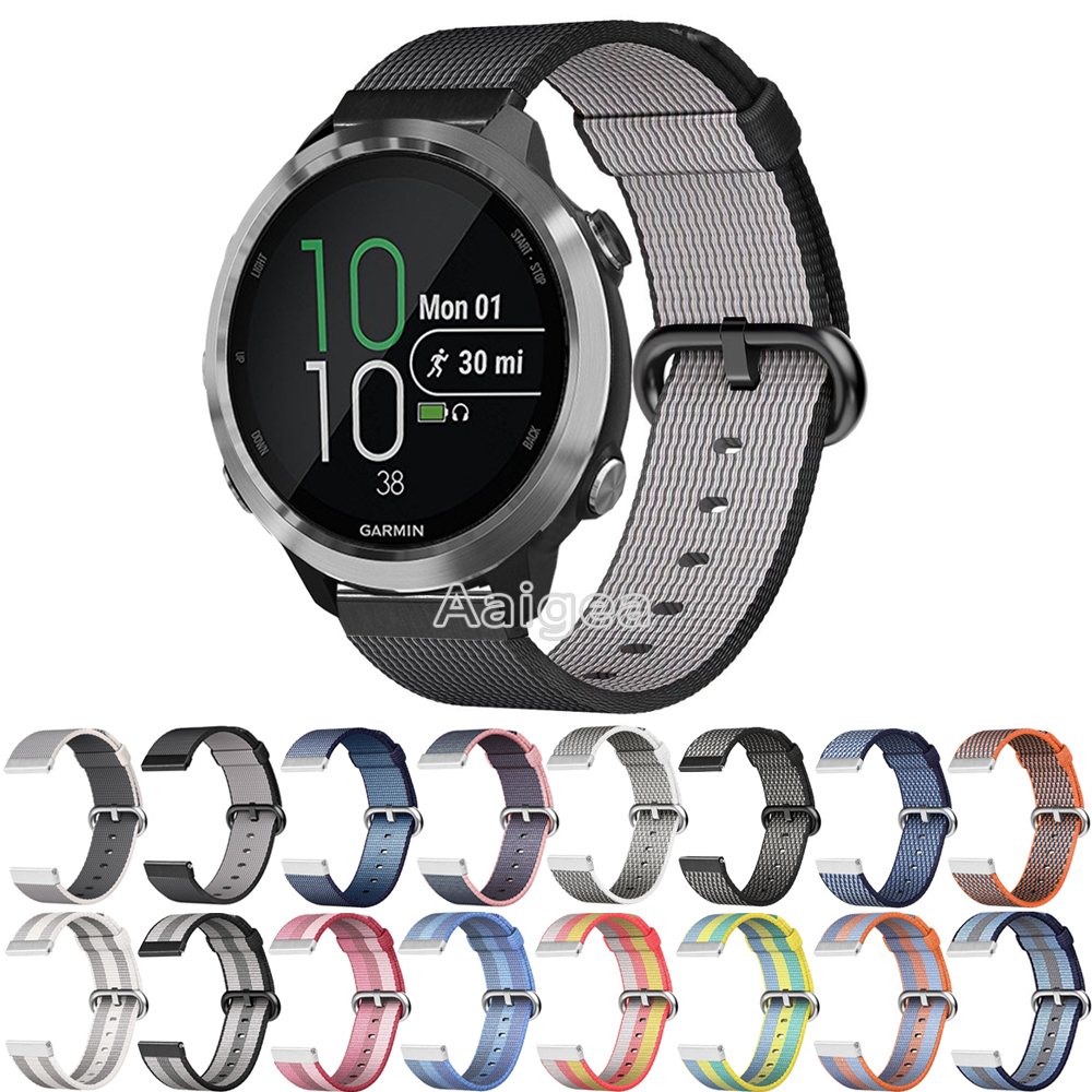 цена на Colorful Woven Nylon Band Sport Loop Strap for Garmin Forerunner 645 Smart Watch Breathable Replacement watchband hot for garmin