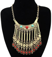 Bohemian Crescent Gem Hollow Flower Bead Drop Maxi Tassel Necklace Gypsy Ethnic Jewelry For Women(China)