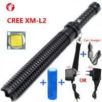 Powerful Led Flashlight 18650 CREE XM L2 Telescopic Baton Self Defense Police Patrol LED Rechargeable Flash