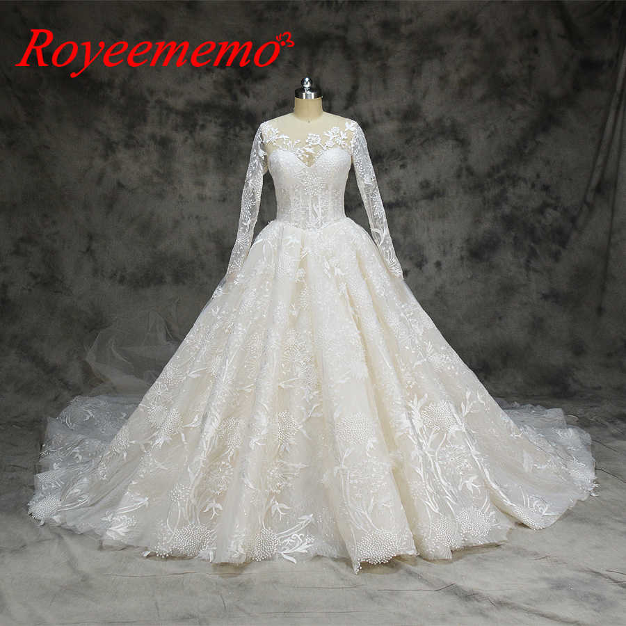 4736a635d2bc new lace ball gown wedding dress long sleeve wedding gown custom made  factory wholesale price bridal