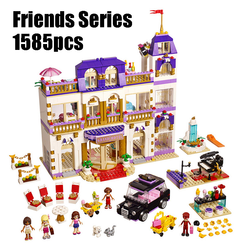 Compatible Legoe Friends 41101 1585pcs Heart Lake City Hotel Model building blocks Bricks figure toys for children Lepine 01045 10494 city supermarket building bricks blocks set girl toy compatible lepine friends 41118