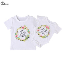 Family Clothing Set Baby Kids Girls 2017 New Little Big Sister Short Sleeve Clothes Jumpsuit Romper Outfits T Shirts(China)
