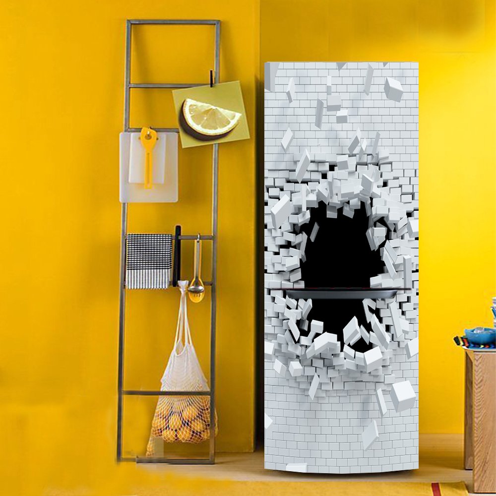 yazi Brick Holes 3D Effect PVC Self Adhesive Refrigerator Sticker ...