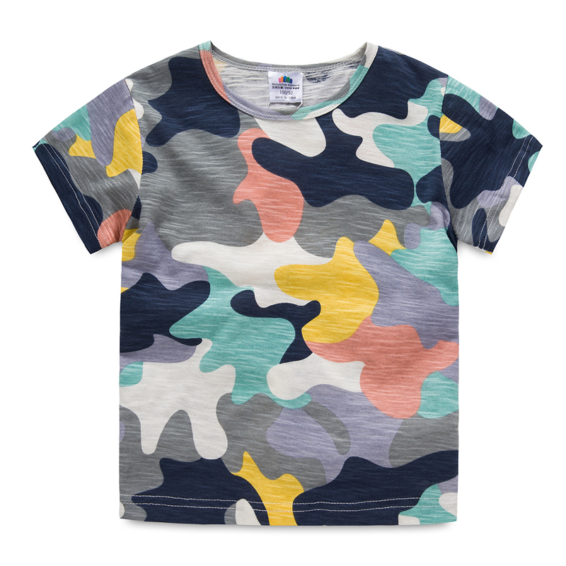 2018 Summer Baby Boys T Shirt Camouflage Print Cotton Tops Tees T Shirt For Boys Kids Children Army Outwear Clothes Tops 5395 crew neck camo print tees in army green