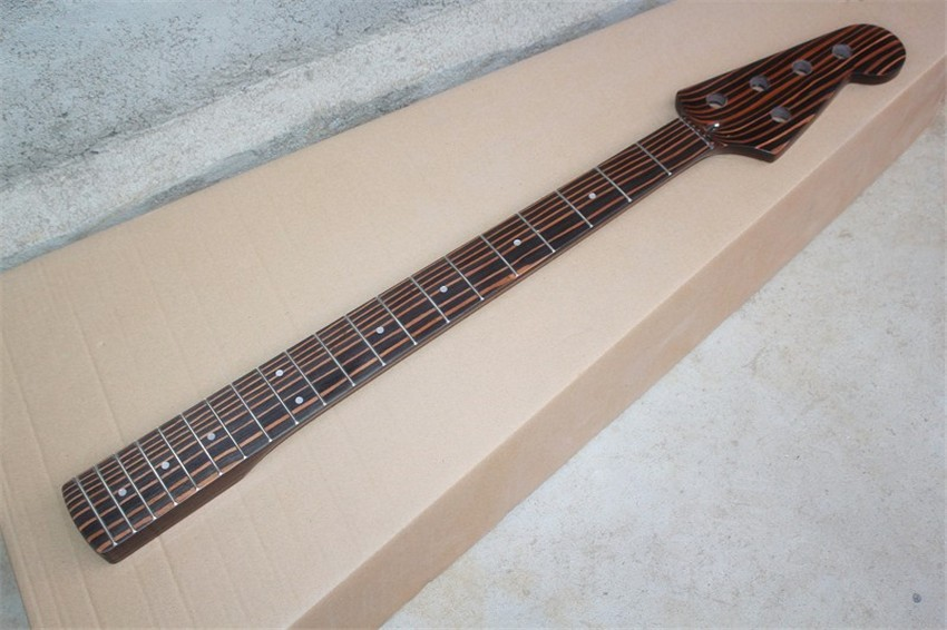 top quality 20 frets zebrawood electric bass guitar neck 4 5 strings guitar parts musical. Black Bedroom Furniture Sets. Home Design Ideas