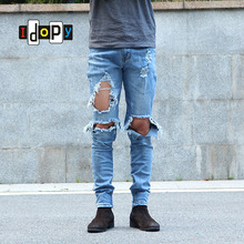 62cfc8b5bee Idopy Urban Side Ankle Zipper Skinny Stretchy Destroyed Distressed Knee  Ripped Jeans
