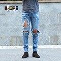 Urbano Fresco Mens Cremallera Lateral Del Tobillo Pantalones Vaqueros Flacos Elásticos de Kanye West Destruido Apenada Ripped Jeans Con Agujeros de La Rodilla Para Los Hombres