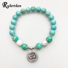 Ruberthen 2017 Design Men`s Light Blue Stone Bracelet Ohm Charm White Howlite Bracelet High Quality Jewelry Hot Sale