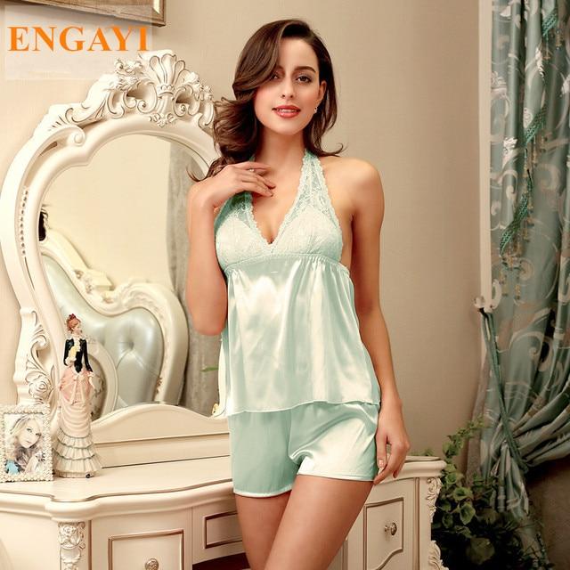 ac9b4d5a9f 2017 New Women Nightgown Nightwear Silk Satin Sexy Pajamas Robe Sleepwear  Lace Night Gown Pijamas Pyjamas DT105