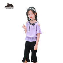 2019 Summer Girls Clothing Sets chiffon  Two piece short Sleeve Children Casual Fashion Clothes Suit pants