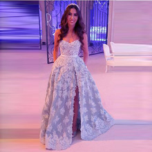 Luxus Dubai Spitze Abendkleider Wit Tasche Abendkleider 2017 Glänzende Perlen Pailletten Sexy High Side Split LebanonParty Kleid