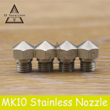 Hot sale!1pcs 3D printer M7 Stainless steel MK10 Nozzle 0.2mm/0.3mm/0.4mm/0.5mm for 1.75mm Filament for Reprap Makerbot 2 Parts