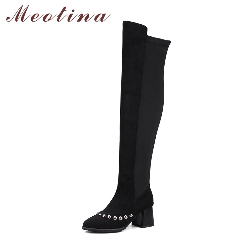 Meotina Winter Over the Knee Boots Rivets Thick High Heel Thigh High Boots 2018 Stretch Slim Riding Boots Autumn Shoes Size 46 air inlet snorkel for mitsubishi pajero montero shogun 3 iii v73 2000 2006