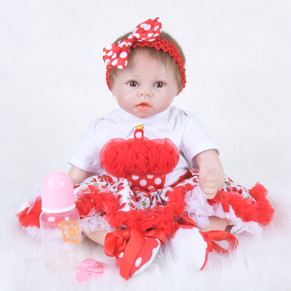 55cm Realistic Reborn Girl Doll with Red Dress Soft Silicone Newborn Baby Toy with Cloth Body for Children Birthday Xmas Gift xmas white tank top 2nd sparkle red birthday number with red snowflakes ruffles