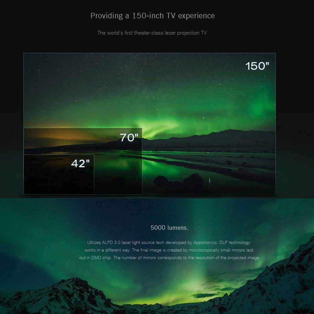 Оригинал Сяо mi Цзя лазерной ТВ-Проектор 150 дюймов Многоязычная 4 K Full HD с DOLBY DTS 3D HDR mi домашнего кино Театр