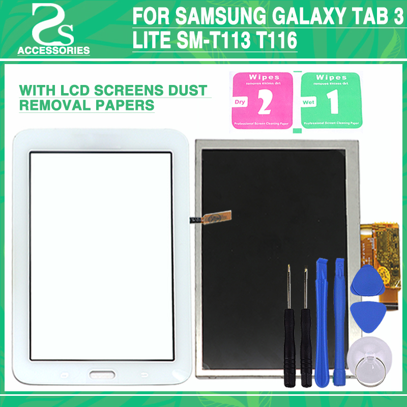 New T113 T114 LCD Touch for Samsung Galaxy Tab 3 Lite SM-T113 T116 Display Touch Screen Panel Digitizer Sensor Glass Lens Panel new touch screen digitizer for zebra mc3300 touch panel digitizer glass lens pane lcd modules