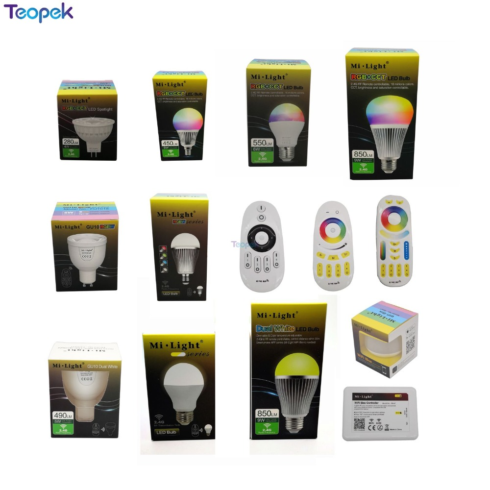 Mi.light 2.4G 4W 5W 6W 9W 12W Led Bulb,MR16 GU10 E14 E27 Led Lamp Smart Wireless CCT RGBW RGBWW RGB+CCT Led Light(China)
