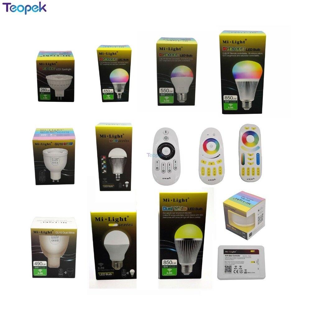 Mi. luz 2.4g 4 w 5 w 6 9 12 lâmpada led, mr16 gu10 e14 e27 lâmpada led inteligente sem fio cct rgbw rgbww rgb + cct diodo emissor de luz