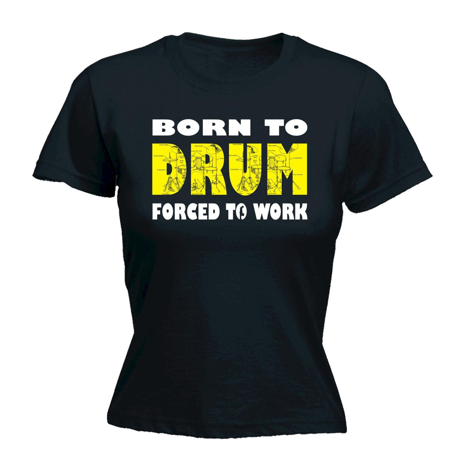 Design a t shirt kit - Born To Drum Forced 2 Work T Shirt Drum Kit Drummer Band Music Birthday Gift Design T Shirt Cute Cartoon Tops Printed Tops