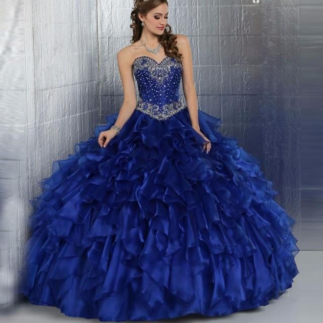 Lujo Vestidos de Quinceañera Largo 2017 Dulce 16 Vestidos trajes de Lentejuelas Con Cuentas de Cristal vestido de Bola de Mascarada vestidos de 15 anos