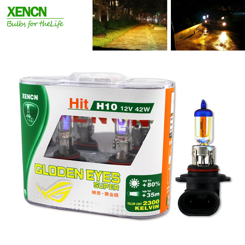 XENCN 9145 H10 12V 42W PY20D 2300K Golden Eyes Super Light Golden Eyes Automotive Halogen Car Bulbs Fog Lamps 30% MoreLight 2pcs