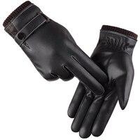 الرجال قفازات الشتاء قفازات الدفء شاشة اللمس للريح قفازات القيادة 2016 الذكور الخريف الشتاء guantes قفازات جلدية سوداء