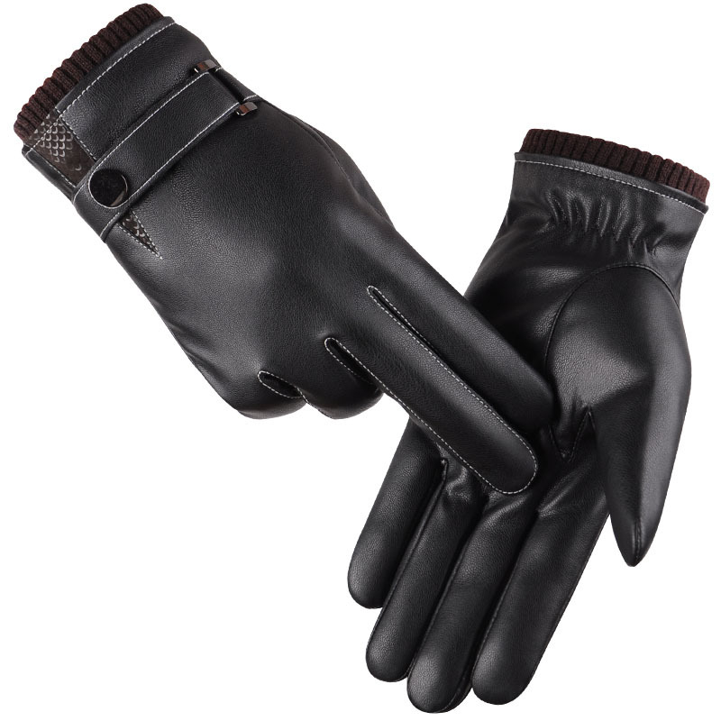 Men's Gloves Winter Mittens Keep Warm Touch Screen Windproof Driving Gloves 2016 Male Autumn Winter Guantes Black Leather Gloves