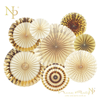 Nicro 8Pc Set Gold Party Decorative Creative Paper Flower Fan Handmade Striped Folding Fan Party Supplie