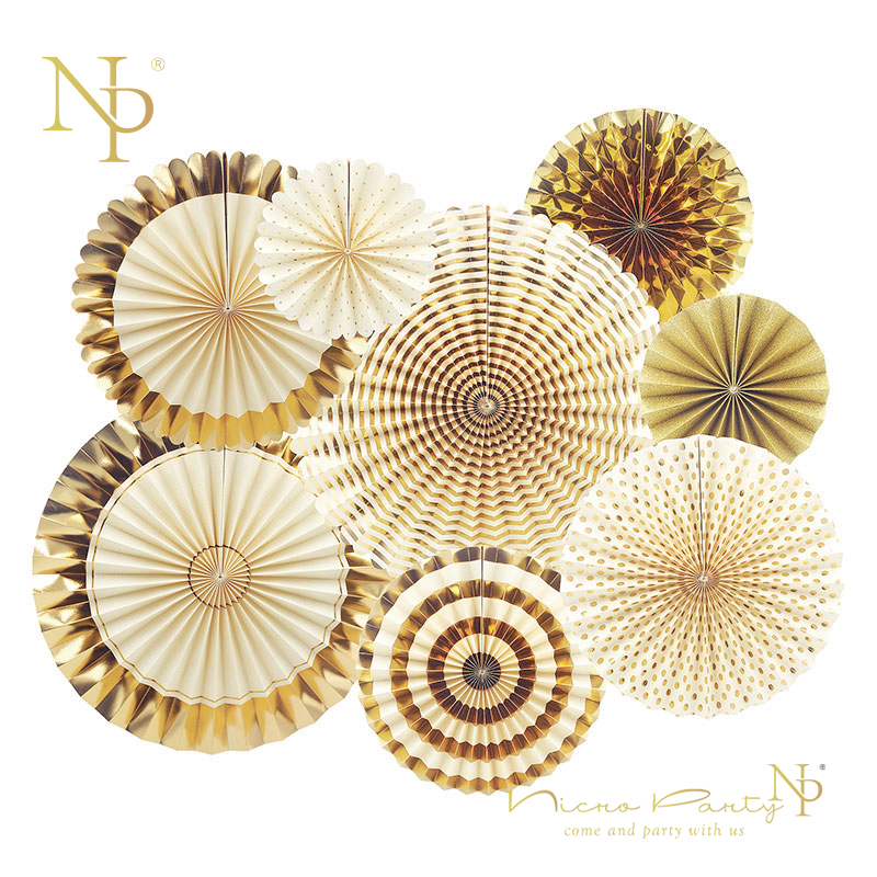Nicro 8Pcs/Set Gold Christmas Party Decoration Creative Paper Flower Fan Handmade Striped Folding Fan Three Kings Epiphany #FS03