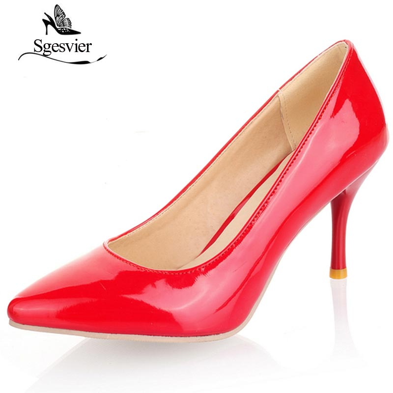 SGESVIER Big Size 30-47 2018 New Fashion High Heels Women Pumps Thin Heel Classic White Red Beige Sexy Prom Wedding Shoes OX175 small 30 31 big size 46 47 women fashion high heels shoes female pumps thin heel classic white red nude sexy prom wedding shoes