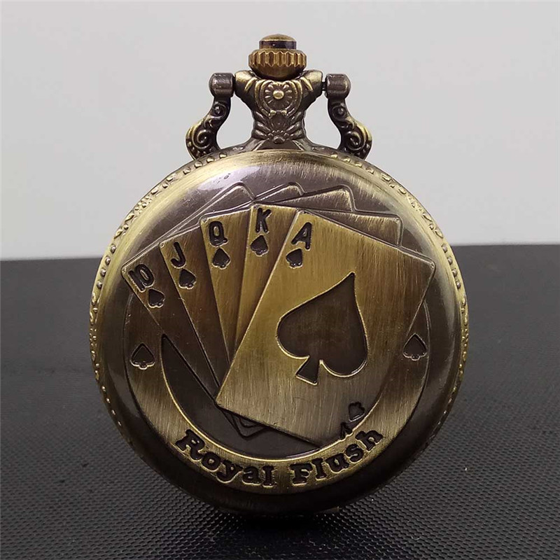 цены на Vintage Steampunk Pocket Watch Poker Antique Bronze Women Men Quartz Watch Necklace Pendant Clock with Chain