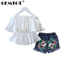 GEMTOT 2019 Summer Girls Clothing Set T shirt + Skirt 2Pcs Suits Winx Club Cartoon Kids Set Children's clothes Free shipping k1