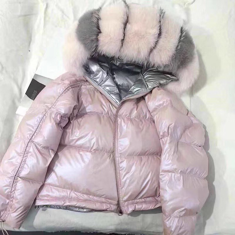 Official Website Womens Winter Silver Jacket Down Jacket Real Fox Fur Collar White Duck Double-sided Down Parka Outerwear Thick Warm Glossy Coat Jackets & Coats