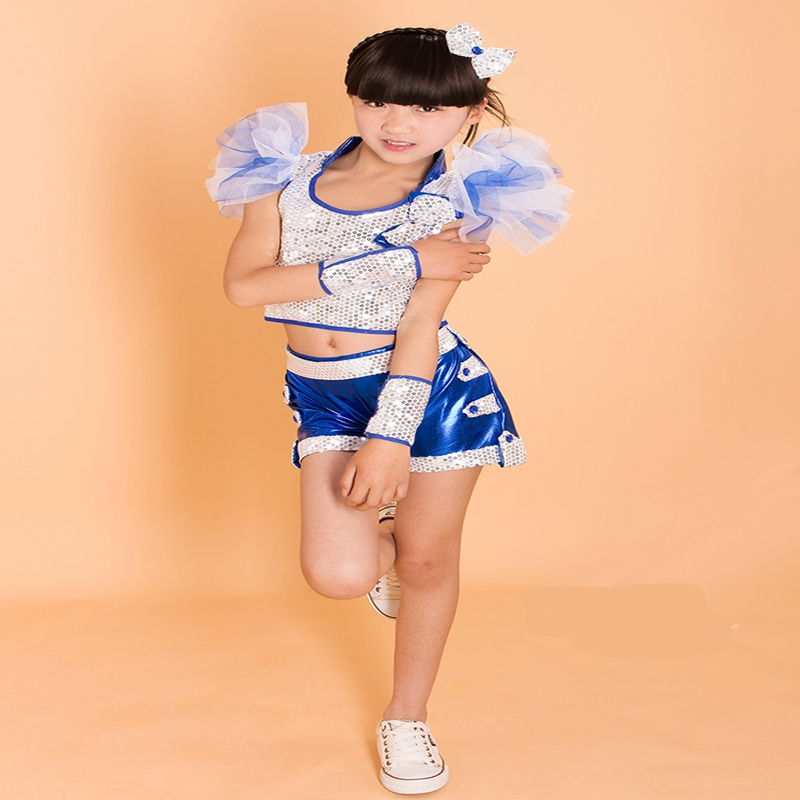 Holiday New Trendy Children Girls Bowknot Modern Belly Dance Clothes Set Shining Sequined Bow Tie Boys Jazz Costume