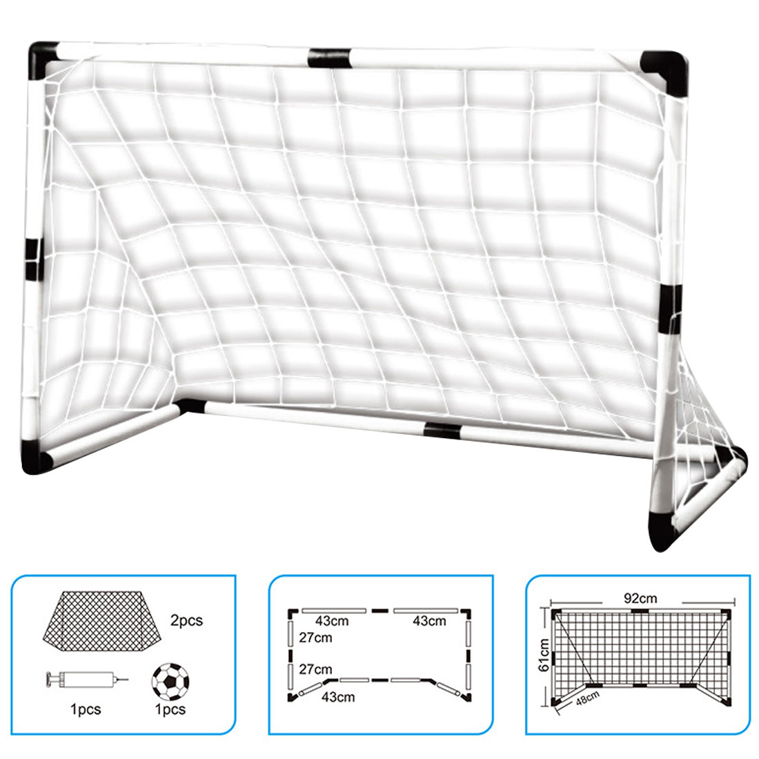 2 Sets Detachable DIY Children Sports Soccer Goals Practice Scrimmage Game Football Gate DIY White With Soccer Ball and Pump image