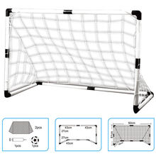 Hot 2 Sets Detachable DIY Children Sports Soccer Goals Practice Scrimmage Game Football Gate DIY White With Soccer Ball and Pump(China)