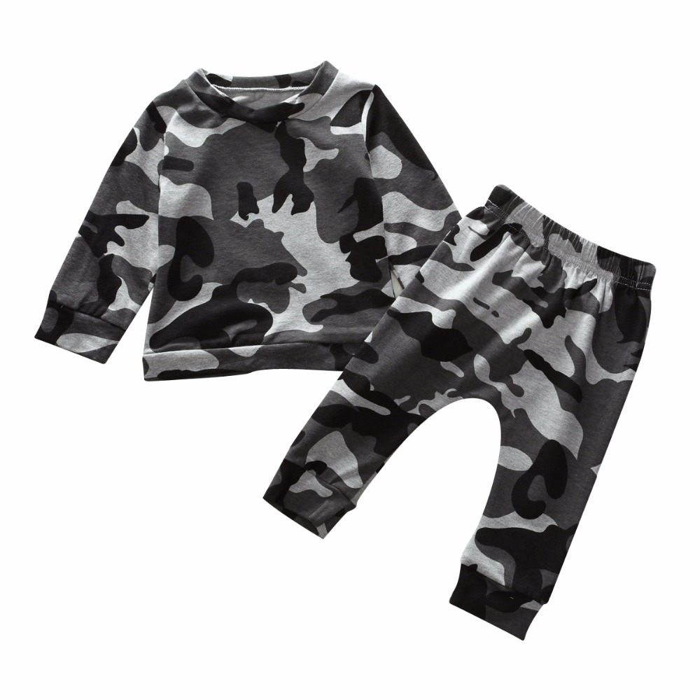 Infant Newborn Baby Boy Girl Camo Camouflage T Shirt Tops Military Sports Tracksuit Outfits 2pcs Autumn Spring Clothes Suit set 3pcs set newborn infant baby boy girl clothes 2017 summer short sleeve leopard floral romper bodysuit headband shoes outfits