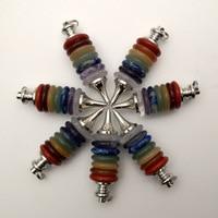 Natural Stone 7 Reiki Chakra Pendulums Pendant Necklace Wheels of Life Gems Jewelry making Wicca Dowsing 5pcs wholesale