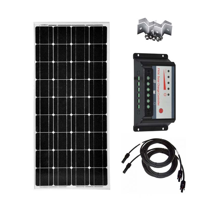 Monocrystalline Solar Panel 100w 12v Solar Charge Controller 12v 24v 30A PWM Pv Cable Z Bracket Mount Caravan Car Camping Boat in Solar Cells from Consumer Electronics