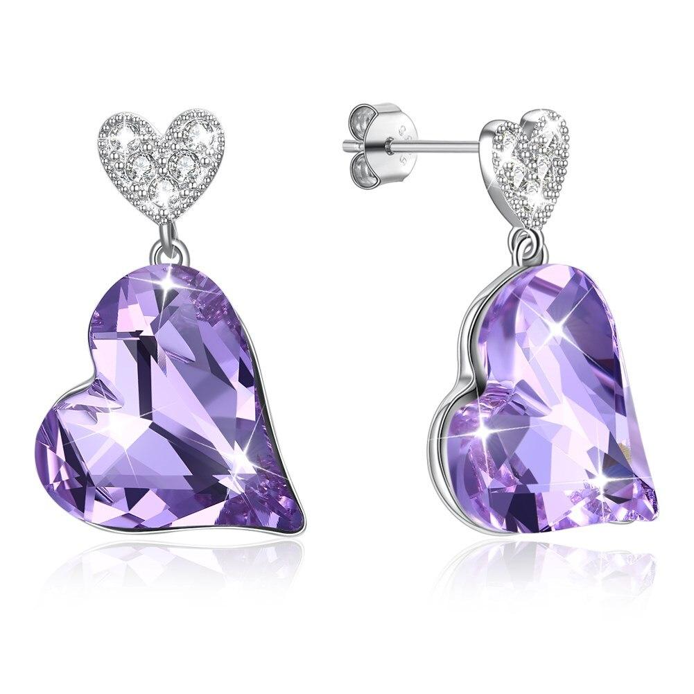 LEKANI cristaux de swarovski S925 coeur cosse violet coeur Zircon beaux bijoux