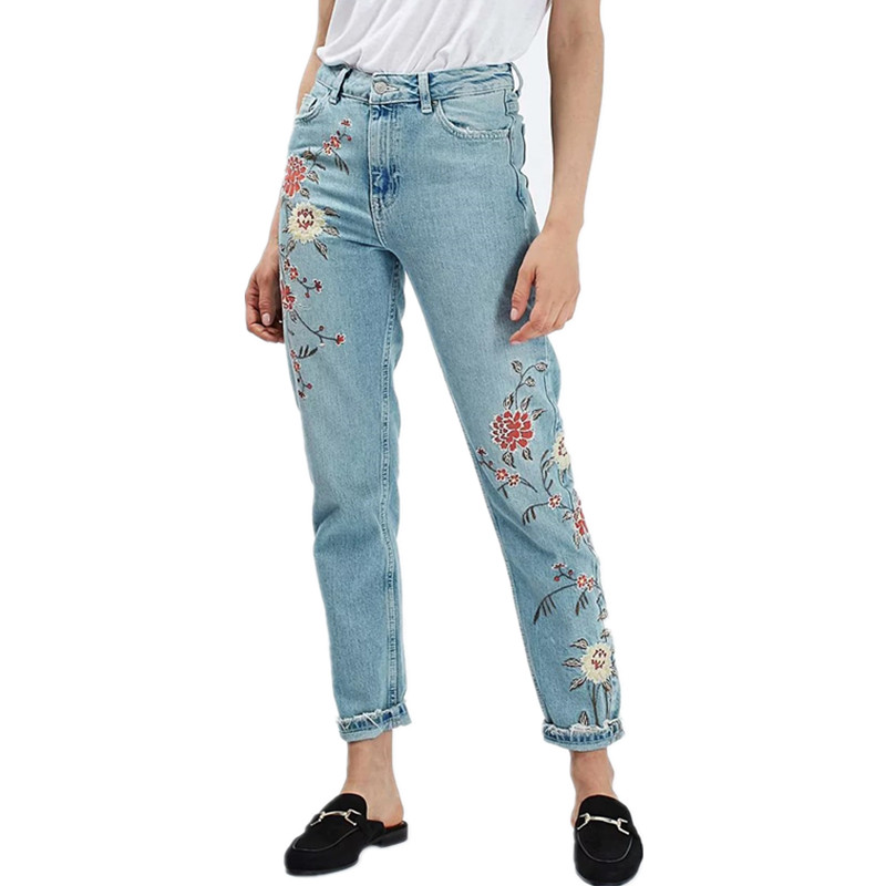 Flower embroidery jeans female Light blue casual pants capris 2016 autumn winter Pockets straight jeans women bottom Xdc6104 women jeans vintage flower embroidery high waist pocket straight jeans female bottom light blue hole casual pants capris new
