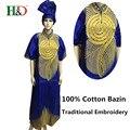 (Бесплатная доставка) Новая мода Базен принес Африканский хлопок платок рукав вышивка платье халаты S2375
