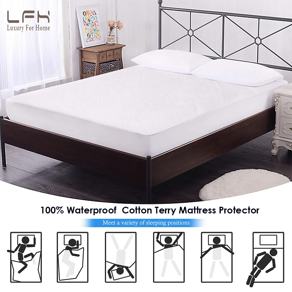 LFH Russian Warehouse Cotton Terry Waterproof Matress Protector Washable Mattress Pad Cover Hospital Waterproof Bed Sheet