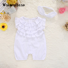New Summer Baby Rompers Cotton Jumpsuit  Princess Toddler  Sleeveless Romper Newborn Baby Clothes With Headband For Girls 2018 summer newborn baby girl kids flower lace crochet romper jumpsuit clothes cotton sleeveless tutu rompers princess clothing