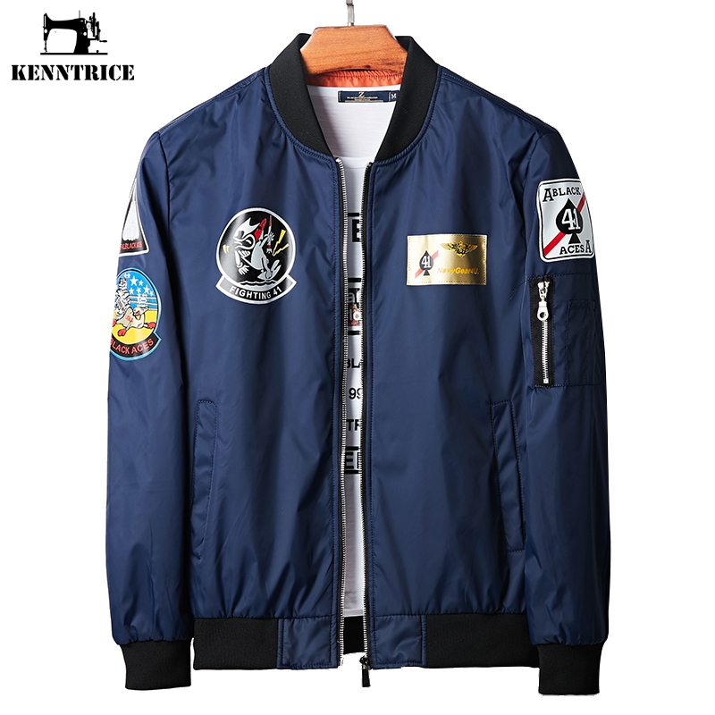 Jackets Men's Clothing Kenntrice 2018 Light Hip Hop Logo Printing Bomber Jackets Mens Casual Slim Fit Pilot Jacket Streetwear